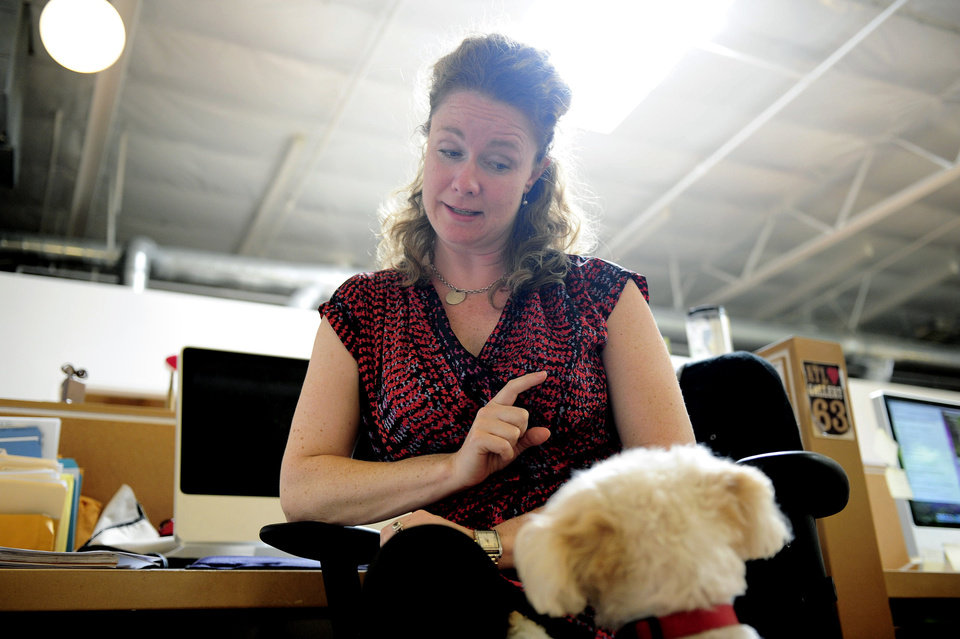 Photo -   Erin McCormack plays with her dog, Dolly, a Maltese mix, while at work at Authentic Entertainment in Burbank, Calif., Monday, June 11, 2012. Dolly is one of millions of dogs that accompany their owners to dog-friendly businesses across the country every day. Even more will join her next Friday for Take Your Dog to Work Day. (AP Photo/Grant Hindsley)