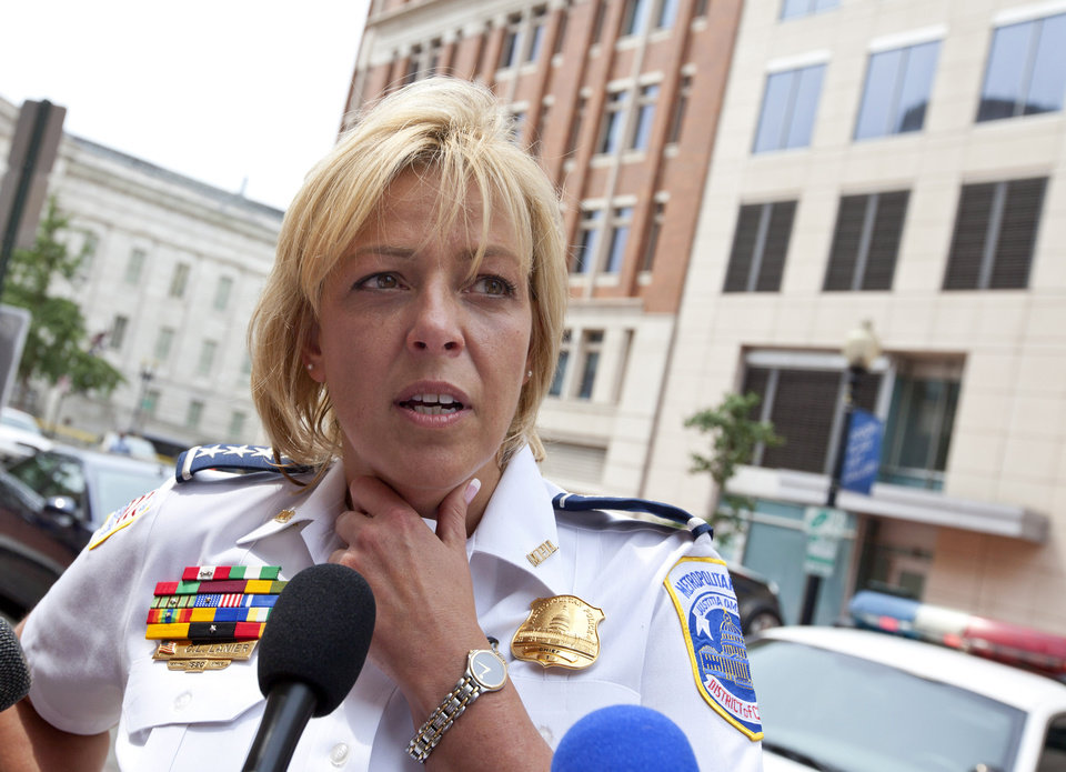 FILE - This Aug. 15, 2012 file photo shows Washington Police Chief Cathy Lanier meeting with reporters in Washington. Washington\'s murder rate was approaching nearly 500 slayings a year in the early 1990s, the annual rate has gradually declined to the point that the city is now on the verge of a once-unthinkable milestone. The number of 2012 killings in the District of Columbia stands at 78 and is on pace to finish lower than 100 for the first time since 1963, police records show. (AP Photo/J. Scott Applewhite, File)