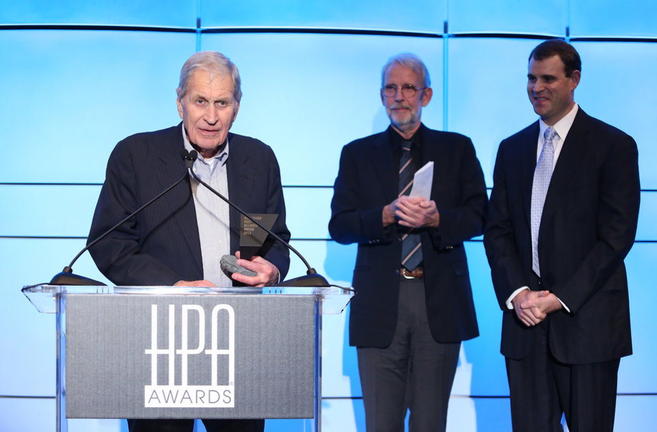 Photo - FILE - In this Nov. 1, 2012 file photo, from left, honoree Ray Dolby, presenter Walter Murch and son David Dolby speak during the 2012 Hollywood Post Alliance awards at the Skirball Center, in Los Angeles.  Dolby Laboratories said Thursday, Sept. 12, 2013, that Dolby, an American inventor, audio pioneer, and founder of the company, died in his home in San Francisco. He was 80. (Photo by Ryan Miller/Invision/AP, File)