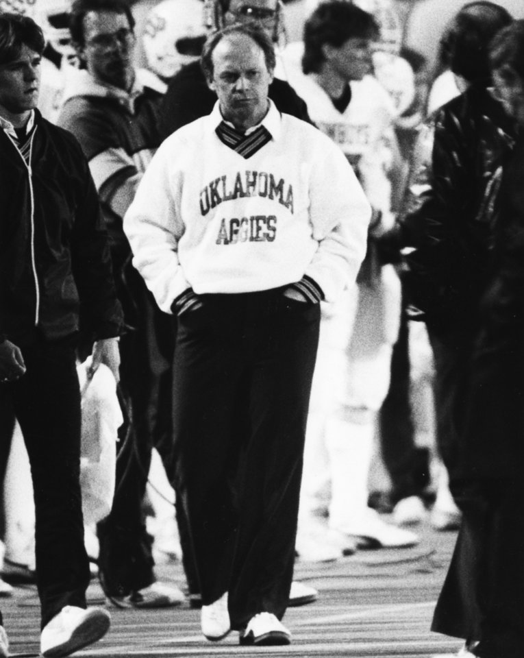 Photo - Pat Jones, former Oklahoma State head football coach, Nov. 11, 1984. Jones was inducted into the Oklahoma Sports Hall of Fame on March 20, 2012.