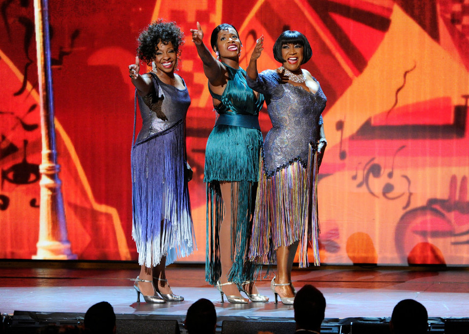 Photo - From left, Gladys Knight, Fantasia Barrino and Patti LaBelle perform onstage at the 68th annual Tony Awards at Radio City Music Hall on Sunday, June 8, 2014, in New York. (Photo by Evan Agostini/Invision/AP)