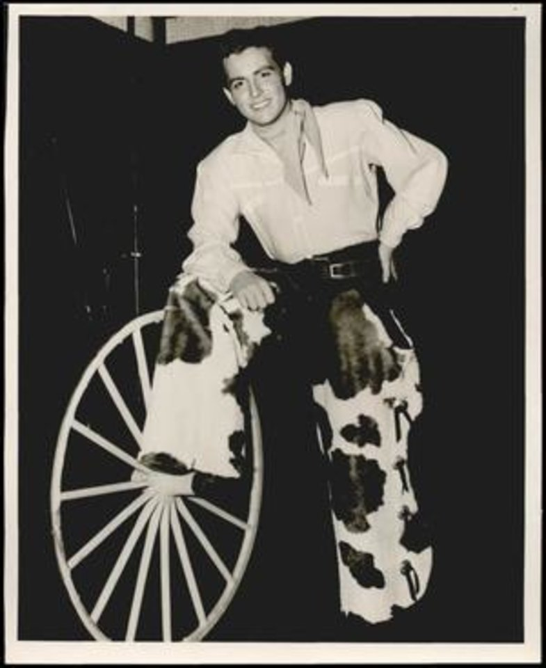 Photo -  Ridge Bond in costume for the role of Curly, date unknown. [Oklahoma Historical Society Research Division]