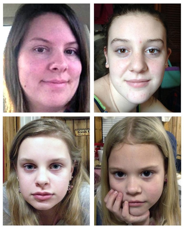 Photo -   This combo image made of undated photos provided by the Mississippi Department of Public Safety shows, clockwise from top left, Jo Ann Bain and her daughters, Adrienne, 14, Kyliyah 8, and Alexandria,12. Bain and her daughters may be in