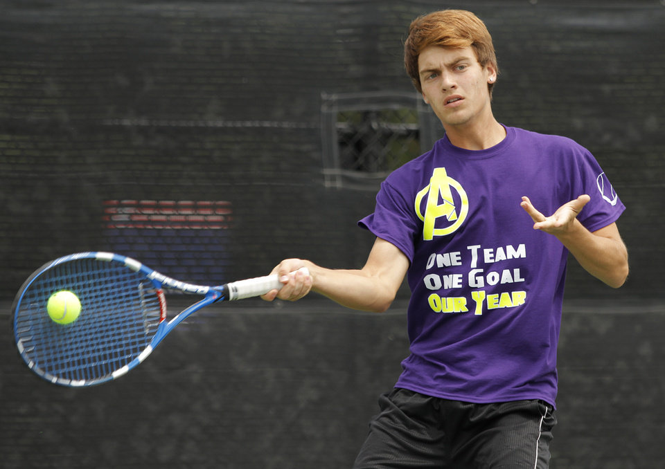 Photo - Cameron Roberts, of Anadarko, competes in 4A Boys Singles during the 2012 OSSAA Boys High School State Tennis Tournament at the OKC Tennis Center at Will Rogers Park in Oklahoma City, Saturday, May 12, 2012.  Photo by Garett Fisbeck, For The Oklahoman