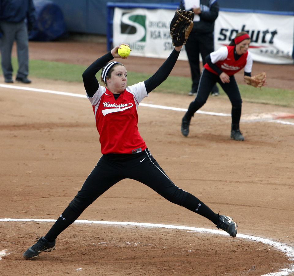 Washington's Kailee Orr pitches against Little Axe during the class 3A Girl's State Softball playoffs at the ASA Hall of Fame Stadium in Oklahoma City, OK, Friday, October 5, 2012,  By Paul Hellstern, The Oklahoman