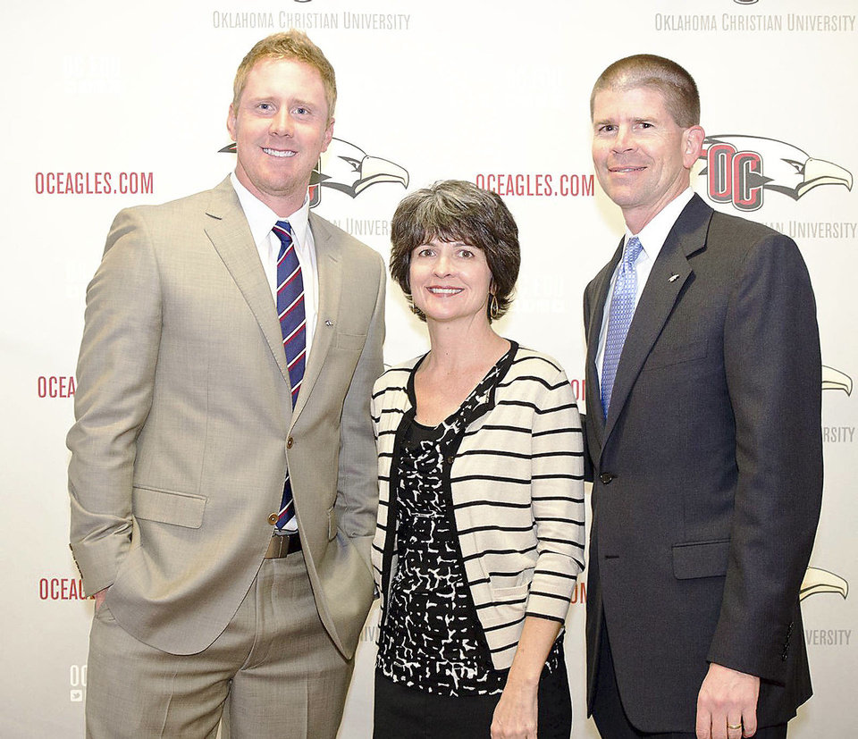 Brandon Weeden, Darla and OC President John  deSteiguer. PHOTOS PROVIDED