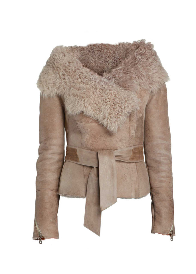 Bod & Christensen's taupe wrap jacket with tie belt, $1,825, made of merino and tigrado shearling; at select Nordstrom stores and bodchristensen.com. (MCT)