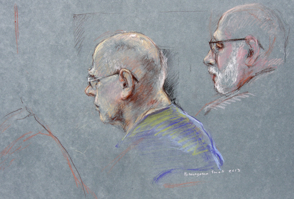 Photo - This courtroom sketch depicts James