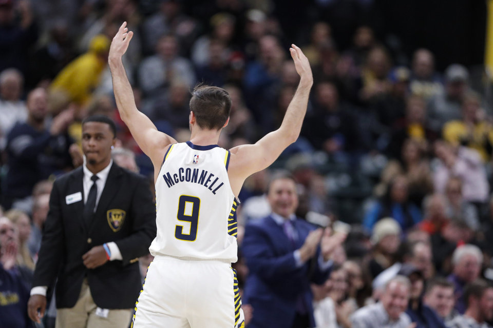 Photo - Indiana Pacers guard T.J. McConnell (9) celebrates during the second half of the team's NBA basketball game against the Oklahoma City Thunder in Indianapolis, Tuesday, Nov. 12, 2019. The Pacers won 111-85. (AP Photo/Michael Conroy)
