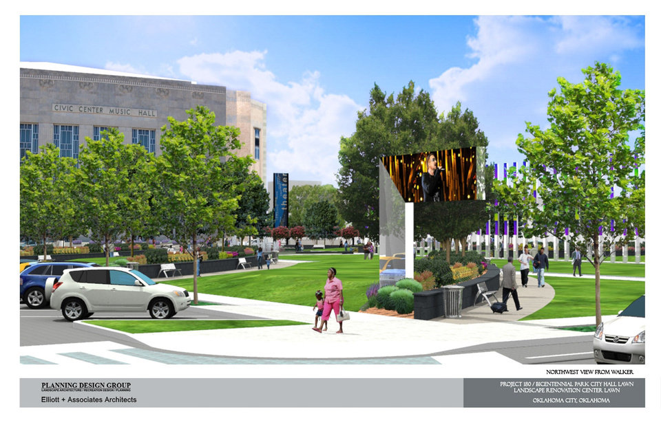 A view of the proposed Project 180 makeover of the Civic Center park is shown in this drawing. Drawing provided