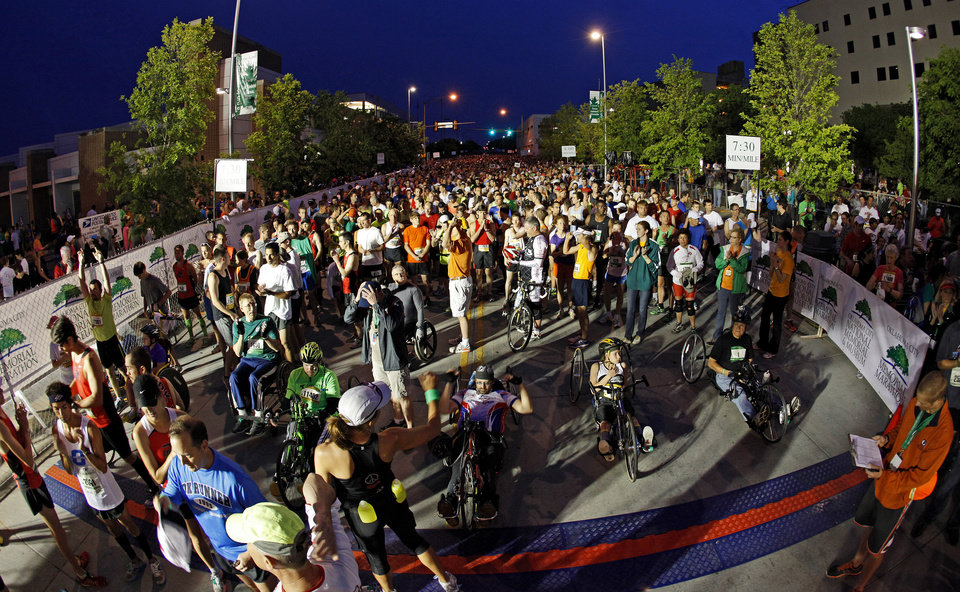 Participants line up for the start of the Oklahoma City Memorial Marathon in Oklahoma City, Sunday, April 29, 2012. Photo by Bryan Terry, The Oklahoman