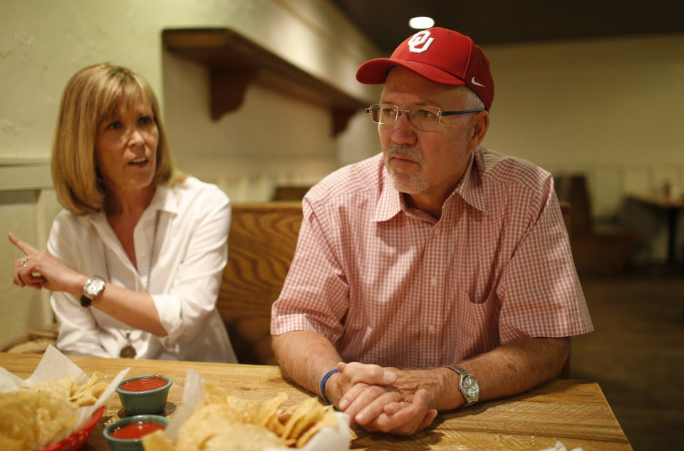 Photo - Mike and Marilyn Riley talk about their son Lincoln Riley, Oklahoma's new offensive coordinator, inside a restaurant in Lincoln's hometown of Muleshoe, Texas, on Wednesday, June 24, 2015. Photo by Bryan Terry, The Oklahoman