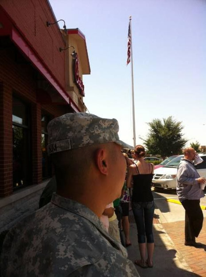Photo - Showing support at Midwest City Chick-fil-A! Photo provided by Thomas Esparza.