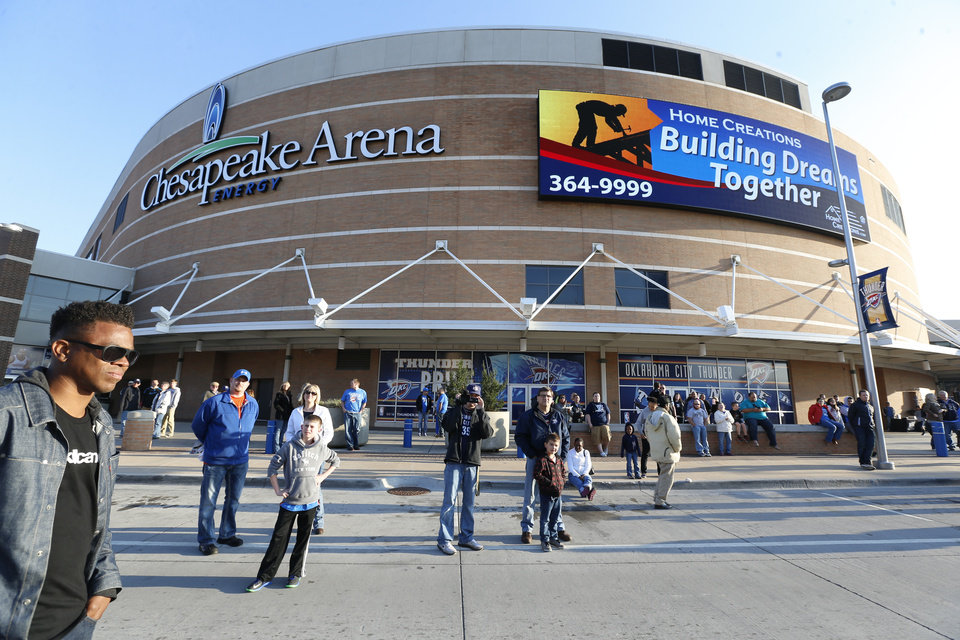 Photo - BUILDING EXTERIOR: Chesapeake Energy Arena is pictured, Wednesday, April 4, 2013. Photo by Sarah Phipps, The Oklahoman