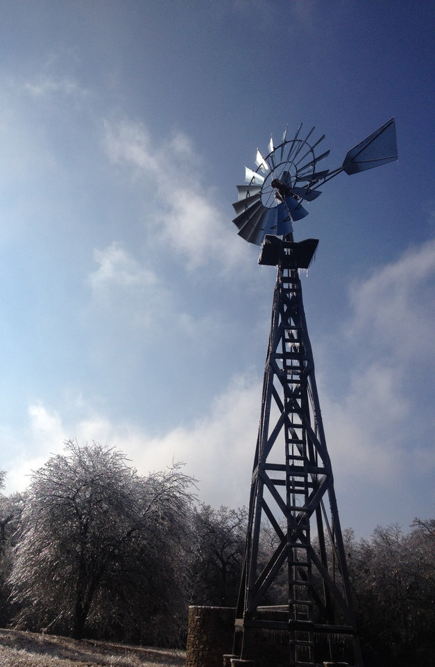 Ice on an Oklahoma Windmill. Photo by Dusty Dees