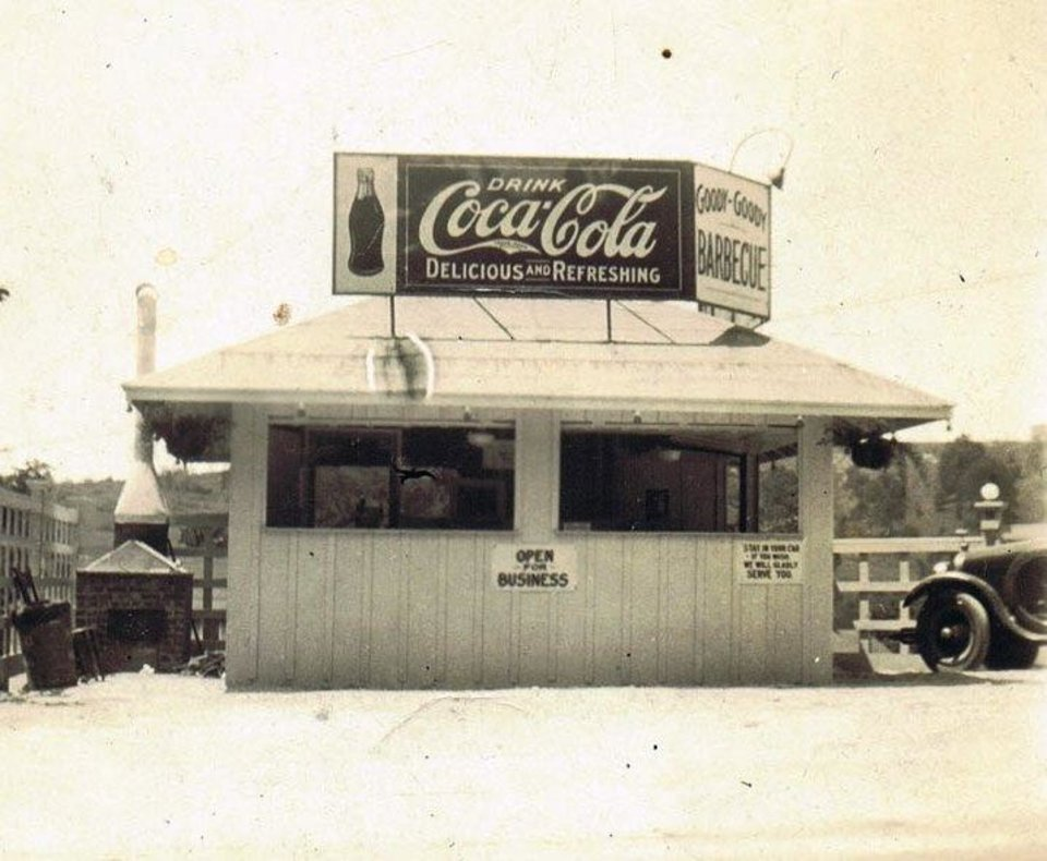 Photo -  The original Goody Goody Barbecue stand, originally opened by Ralph and Amanda Stephens in June of 1925. [Photo courtesy Oklahoma History Center]