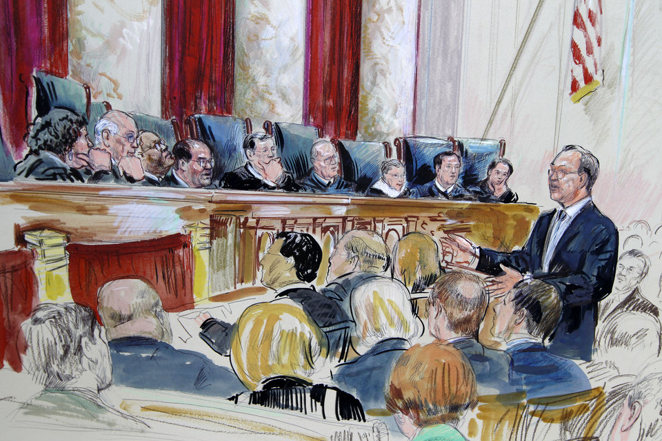 Photo -   This artist rendering shows Paul Clement speaks in front of the Supreme Court in Washington, Tuesday, March 27, 2012, as the court continued hearing arguments on the health care law signed by President Barack Obama. Justices, seated from left are, Sonia Sotomayor, Stephen Breyer, Clarence Thomas, Antonin Scalia, Chief Justice John Roberts, Anthony Kennedy, Ruth Bader Ginsburg Samuel Alito and Elana Kagan. (AP Photo/Dana Verkouteren)
