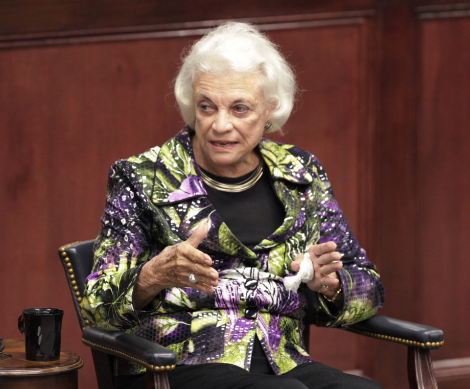 Photo - Retired Supreme Court Justice Sandra Day O'Connor speaking to students, faculty and staff at OCU, Thursday, April 14, 2011. Photo by David McDaniel, The Oklahoman