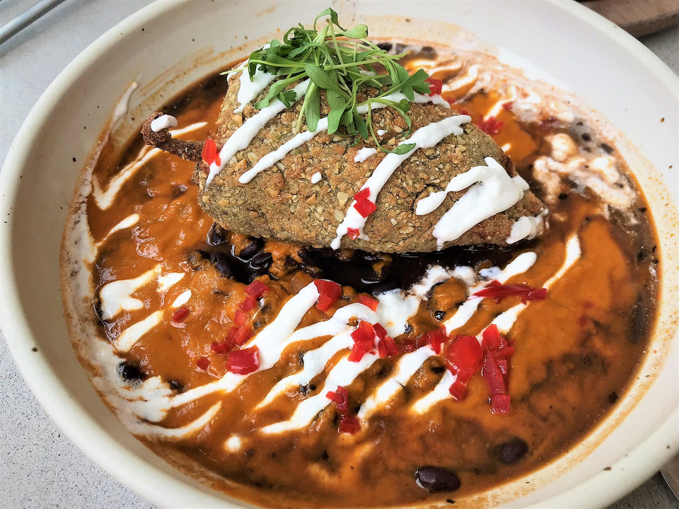 Photo - Pepita-encrusted Chile Relleno from Frida Southwest, opening Friday in the Paseo Arts District. [Dave Cathey/The Oklahoman]