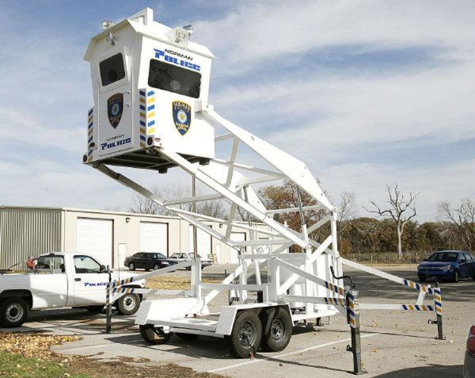 Photo - A mobile observation tower is parked at the Norman Police Department's training center.  PHOTO BY PAUL HELLSTERN, THE OKLAHOMAN