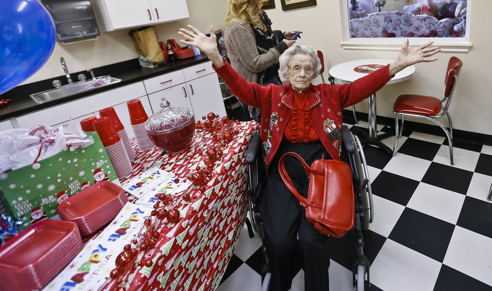 Ora E. Holland poses for her birthday photo before the start of her party at Heritage Assisted Living Center on Saturday, Dec. 22, 2012, in Oklahoma City, Okla. Holland will celebrate her 112th birthday on Dec. 24, 2012.   Photo by Chris Landsberger, The Oklahoman