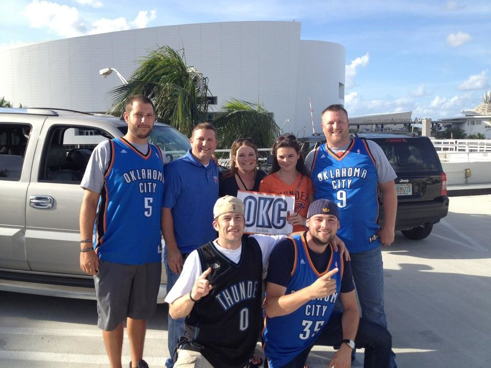 Photo - Oklahoma City Thunder fans in Miami. Clockwise from left: David Twichell, Matt Stuart, Laurel Stuart, Jessica Forde, Jay Thomas, Morgan Horner, Donald Chadwell. Photo by Mike Sherman, The Oklahoman.