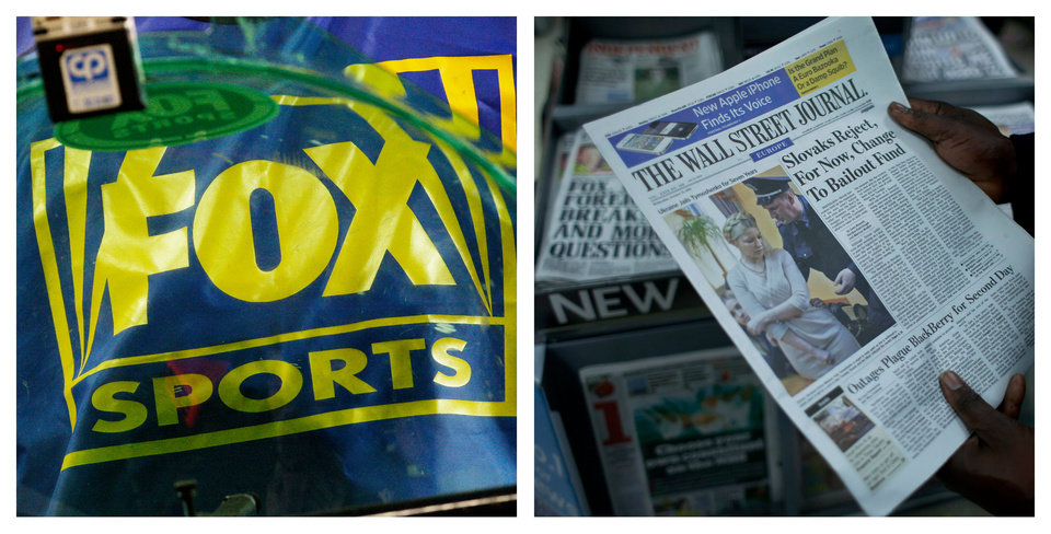 FILE- This combination of Associated Press file photos show a Fox Sports logo, left, and a person holding a copy of a Wall Street Journal, right. Rupert Murdoch\'s News Corp. said Thursday, June 28, 2012, that it plans to split into two separate companies, one holding its newspaper business and the other its entertainment operations. (AP Photo/Ross D. Franklin, Matt Dunham, File)