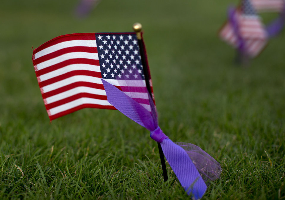 Photo - Miniature flags with purple ribbons tied to them in honor of the 19 fallen Granite Mountain Hotshot firefighters who died Sunday, sit planted in the grass during the Fourth of July celebration at Pioneer Park, Thursday, July 4, 2013 in Prescott, Ariz. On a day meant to ponder the nation's birth, and those who built and defended it over 237 years, Prescott's residents had 19 of their neighbors, their friends, their relatives to remember. (AP Photo/Julie Jacobson)