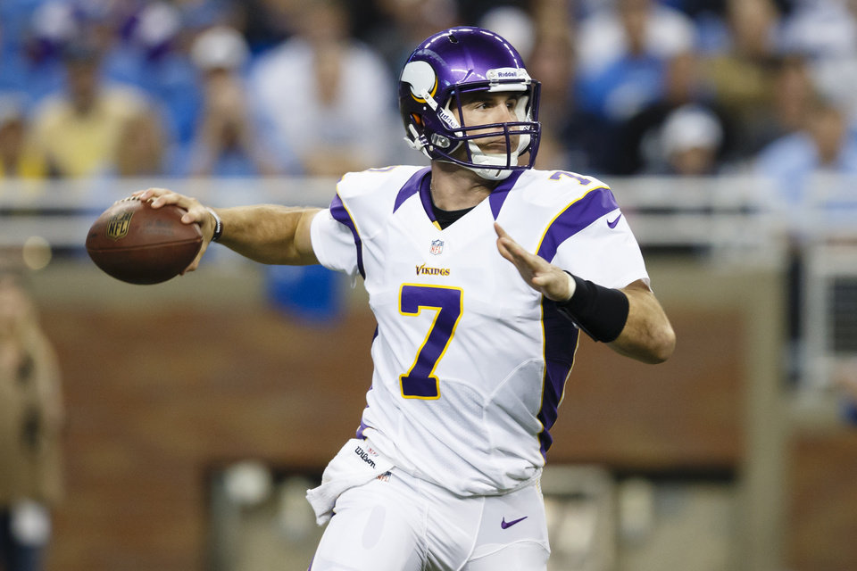 Minnesota Vikings quarterback Christian Ponder (7) passes the ball during the first half against the Detroit Lions in Detroit, Sunday, Sept. 30, 2012. (AP Photo/Rick Osentoski)