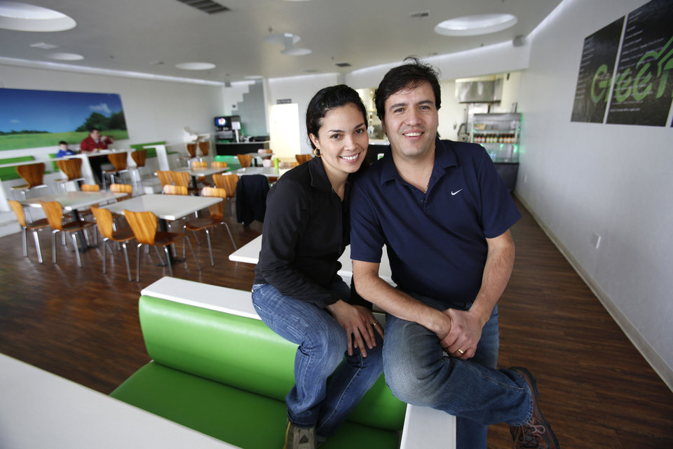 Photo - Green and Grilled owners Adriana and  Juan Suarez. Photo By Steve Gooch, The Oklahoman  Steve Gooch - The Oklahoman