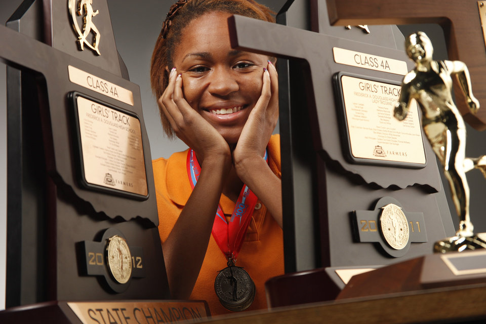 Big All-City girl's track Athlete of the Year, Madison Reynolds, Douglass High School at OPUBCO studio Friday, June 1, 2012. Photo by Doug Hoke, The Oklahoman