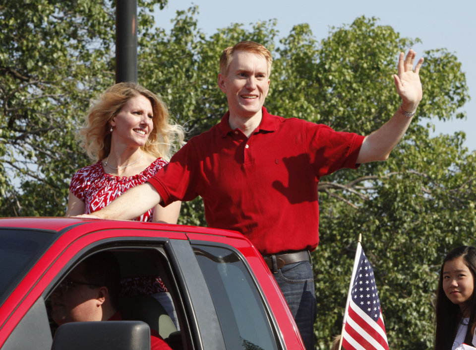 Oklahoma's District 5 Congressman James Lankford waves to the crowd during the annual LibertyFest Fourth of July Parade in downtown Edmond, OK, Thursday, July 4, 2013,  Photo by Paul Hellstern, The Oklahoman