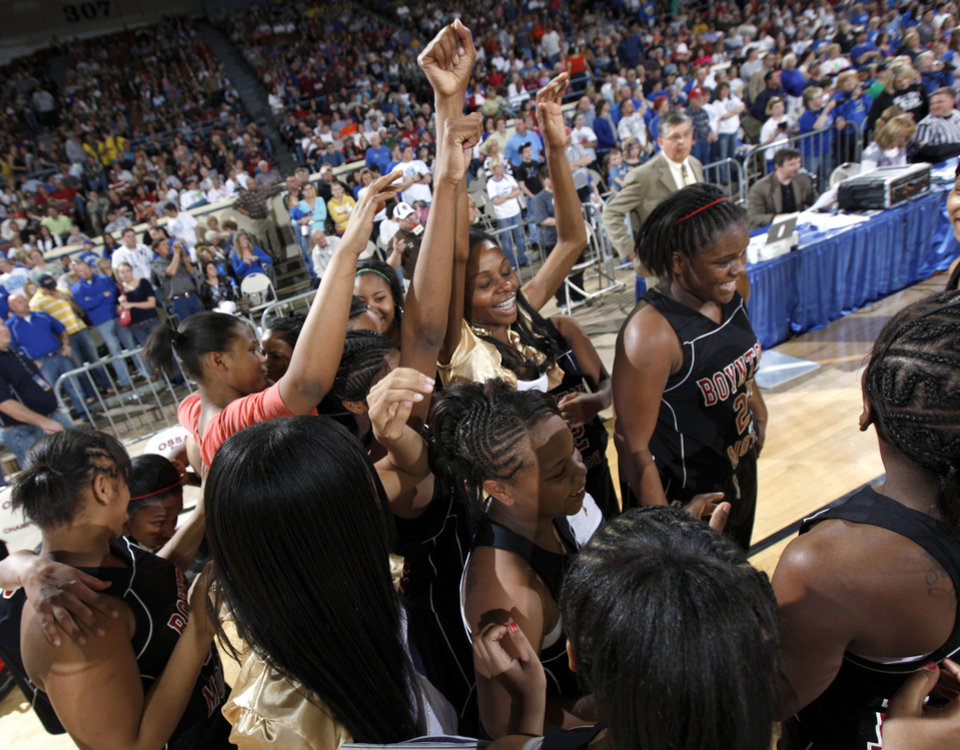 Photo - Boynton-Moton celebrates their win over Cyril in the final of the Class B girls  basketball state tournament  at the State Fair Arena, Saturday, March 6, 2010, in Oklahoma City. Photo by Sarah Phipps, The Oklahoman