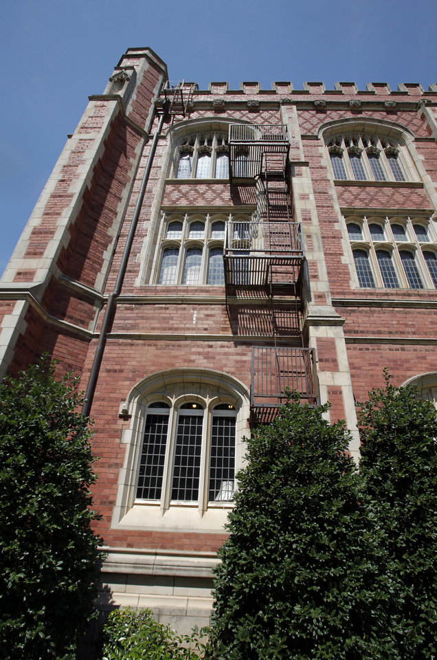 A fire escape at OU's Evans Hall on Tuesday.  Photo by Steve Sisney, The Oklahoman