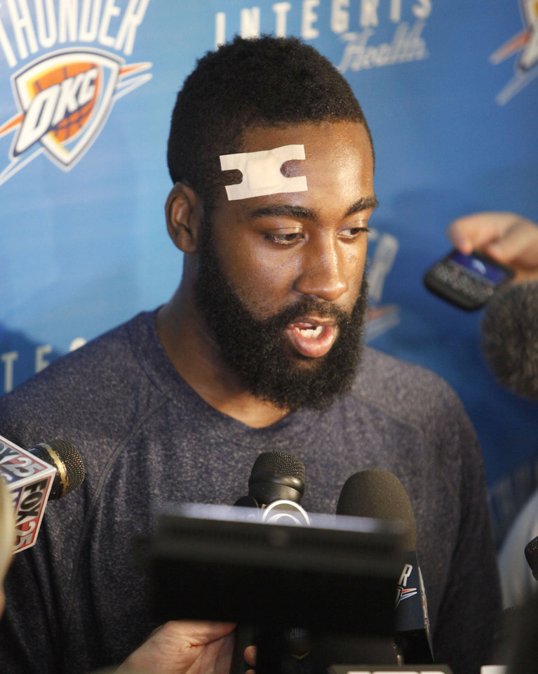 Photo - James Harden speaks to reporters during the Thunder's after practice media event at the Thunder practice facility in Oklahoma City, OK, Friday, May 20, 2011. By Paul Hellstern, The Oklahoman ORG XMIT: KOD