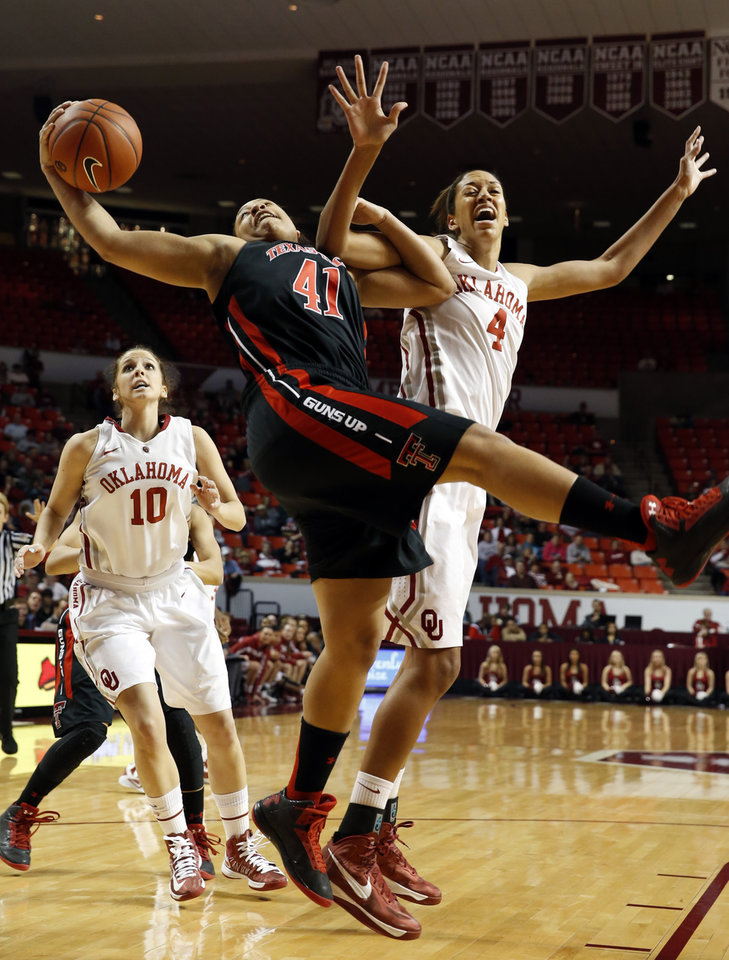 Photo - Tech's Kelsi Baker (41) and Oklahoma Sooner's Nicole Griffin (4) fight for a rebound as the University of Oklahoma Sooners (OU) play the Texas Tech Lady Red Raiders in NCAA, women's college basketball at The Lloyd Noble Center on Saturday, Jan. 12, 2013 in Norman, Okla. Photo by Steve Sisney, The Oklahoman