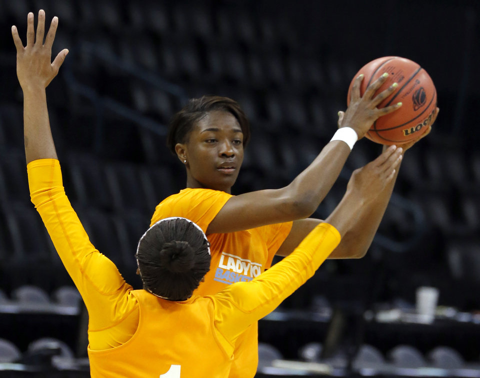 Tennesse forward Jasmine Jones (2) looks to pass the ball as Tennesse guard Jasmine Phillips (1) defends during the press conference and practice day at the Oklahoma City Regional for the NCAA women's college basketball tournament at Chesapeake Arena in Oklahoma City, Friday, March 29, 2013. Photo by Sarah Phipps, The Oklahoman