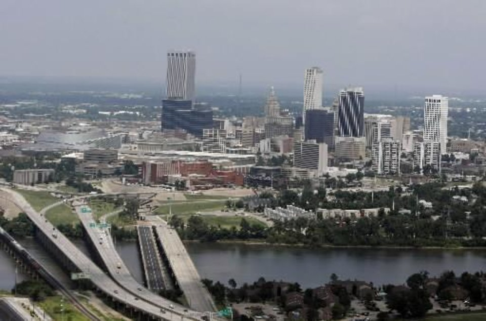 Aerial photo Arkansas River and the  skyline of downtown  Tulsa on July 29, 2009 TOM GILBERT/ Tulsa World