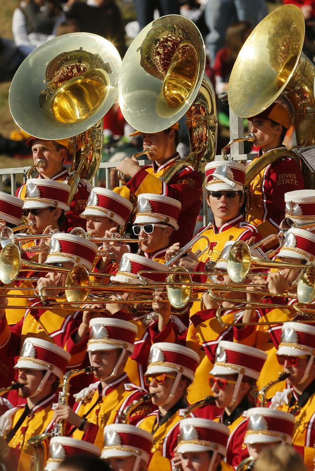 Photo - The Iowa State band plays during a college football game between the University of Oklahoma (OU) and Iowa State University (ISU) at Jack Trice Stadium in Ames, Iowa, Saturday, Nov. 3, 2012. OU won, 35-20. Photo by Nate Billings, The Oklahoman