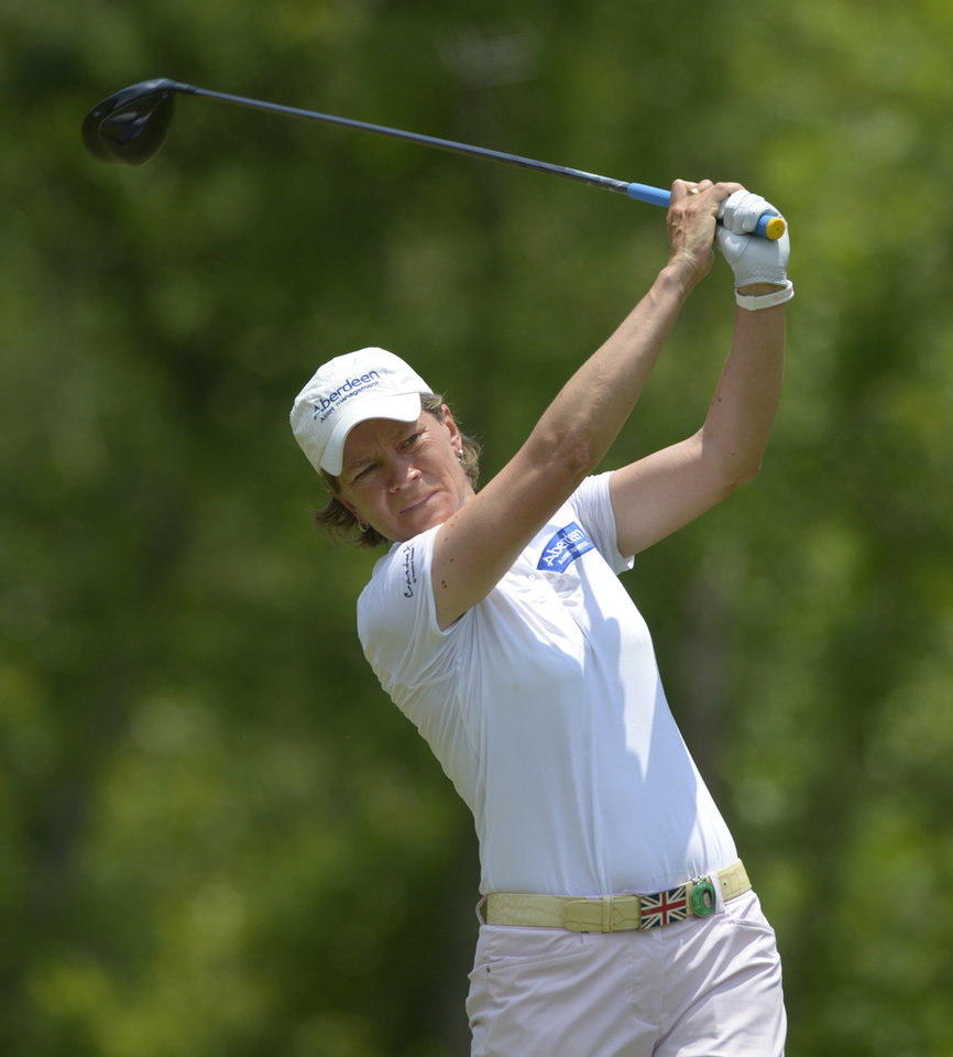 Photo - Catriona Matthew of Scotland hits her tee shot on the fourth hole in the final round of the Airbus LPGA Classic golf tournament at Magnolia Grove on Sunday, May 25, 2014, in Mobile, Ala. (AP Photo/G.M. Andrews)