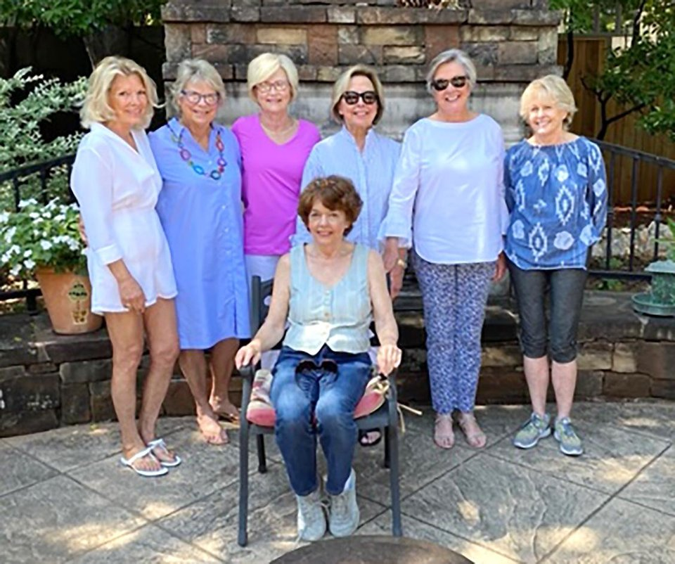 Photo - Lorinda Crouch, Kathy Rodgers, Martha Bradshaw, Fanny Bolen, Dahl Luttrell and Marsha Zahn, back, and Sally Blake, seated. PHOTO BY JOE BLAKE