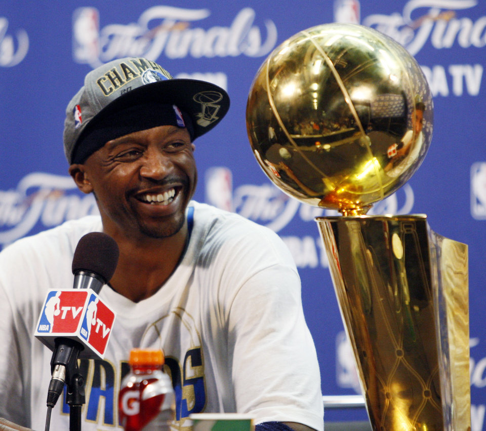 Dallas Mavericks' Jason Terry answers a question during a news conference after Game 6 of the NBA Finals basketball game against the Miami Heat Sunday, June 12, 2011, in Miami. The Mavericks won 105-95 to win the series. (AP Photo/Wilfredo Lee)  ORG XMIT: AAA234