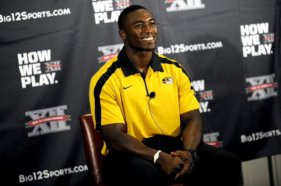 Missouri safety Kenji Jackson smiles between questions during NCAA college football Big 12 Media Days, Monday, July 25, 2011, in Dallas. (AP Photo/Matt Strasen)