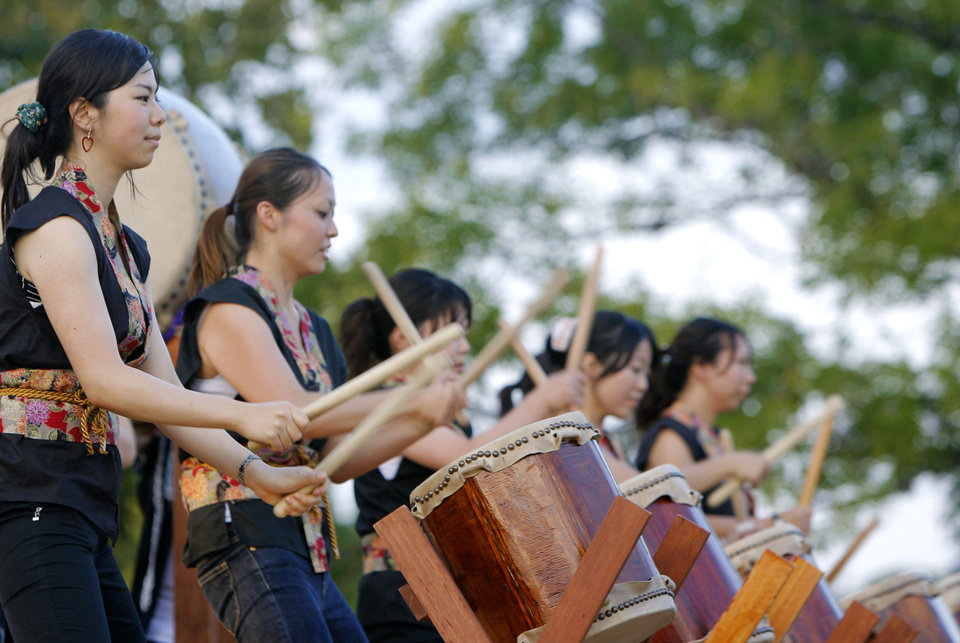 Hibika Taiko Drummers perform during the Children's Asian Moon Festival on the University of Central Oklahoma campus, in Edmond, Okla., Friday, Sept. 12, 2008 BY MATT STRASEN, THE OKLAHOMAN