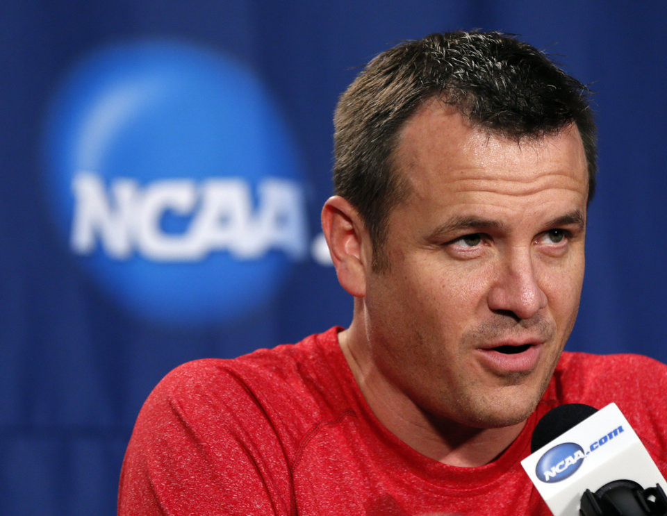 Louisville coach Jeff Walz speaks with the media during the press conference and practice day at the Oklahoma City Regional for the NCAA women's college basketball tournament at Chesapeake Energy Arena in Oklahoma City, Saturday, March 30, 2013. Photo by Nate Billings, The Oklahoman