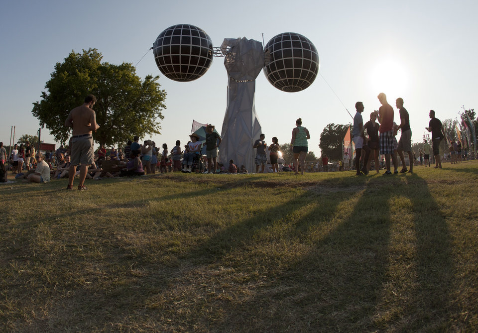 Photo - A strange sculpture towered over the Cottonwood Flats entrance of the main stage at the Gentlemen of the Road Stopover Friday, September 6, 2013.  Photo by Nathan Poppe, for The Oklahoman
