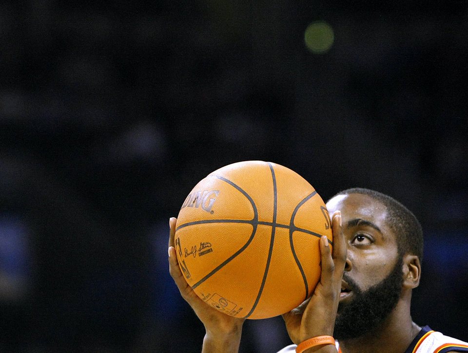 Oklahoma City\'s James Harden shoots a free throw against Houston during their NBA basketball game at the OKC Arena in downtown Oklahoma City on Wednesday, Nov. 17, 2010. Photo by John Clanton, The Oklahoman