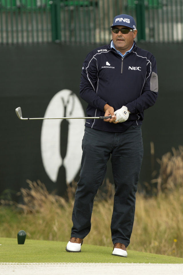 Photo - Argentina's Angel Cabrera watches a shot off the 4th tee during a practice round at Royal Liverpool Golf Club prior to the start of the British Open Golf Championship, in Hoylake, England, Monday, July 14, 2014. The 2014 Open Championship starts on Thursday, July 17. (AP Photo/Jon Super)