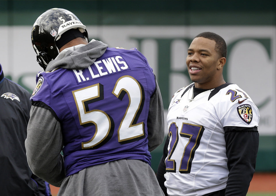 Baltimore Ravens running back Ray Rice, right, chats with linebacker Ray Lewis before warming up at an NFL Super Bowl XLVII football practice on Wednesday, Jan. 30, 2013, in New Orleans. The Ravens face the San Francisco 49ers in Super Bowl XLVII on Sunday, Feb. 3. (AP Photo/Patrick Semansky)