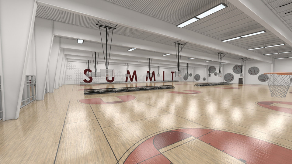 An artist rendering of a basketball court at Summit Sports Complex which will be at I-35 and Covell in Edmond, Okla., with a planned opening of the summer of 2015.